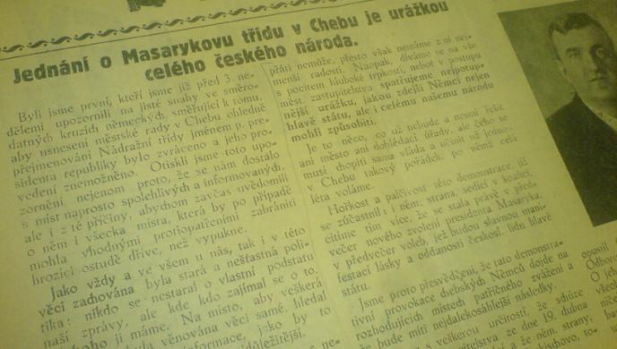 Chebské hlasy: článek v roce 1934